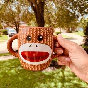 Sock monkey double handle coffee mug kitchen